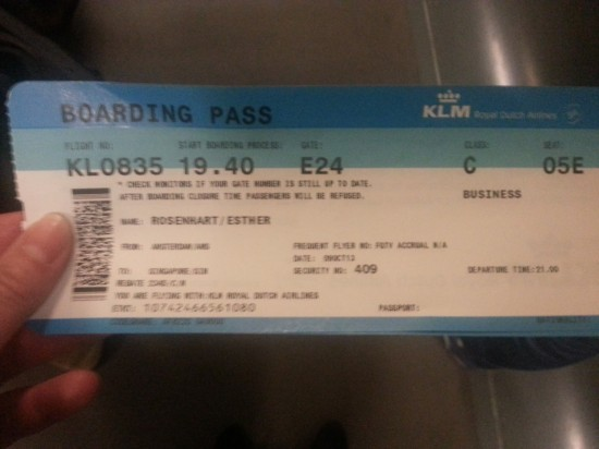 Business class ticket KLM