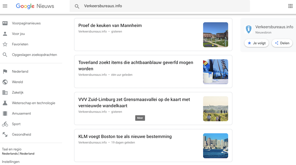 Indexation of news articles on Verkeersbureaus.info