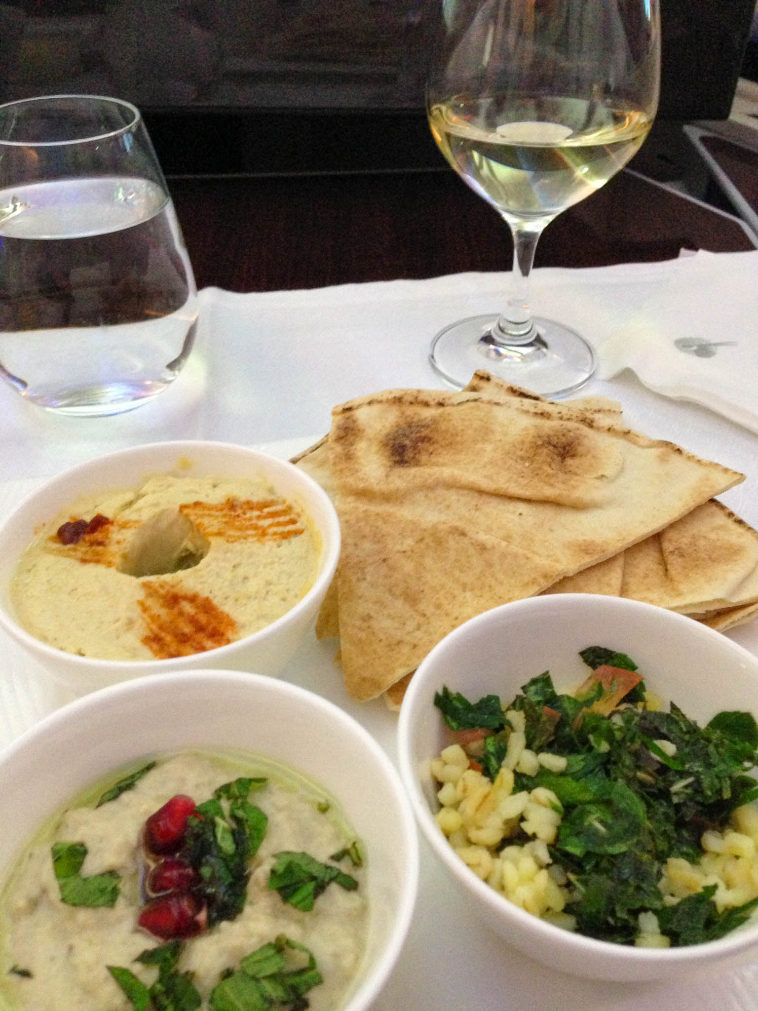 Mezze in de Business Class van Qatar Airways